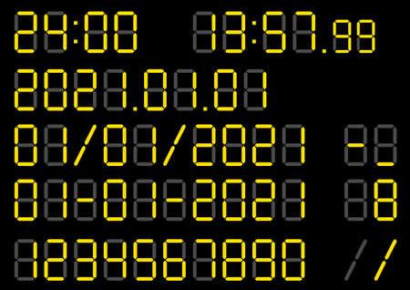 Digital clock date image material collection Ilustración de vector