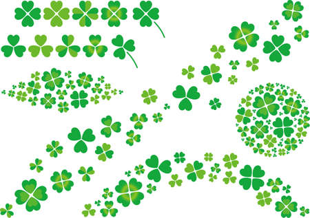 Illustration material collection of clover