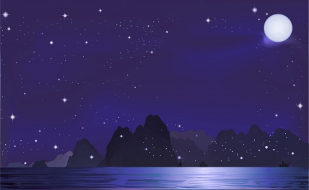 Mountains at night, starry bright  Vector