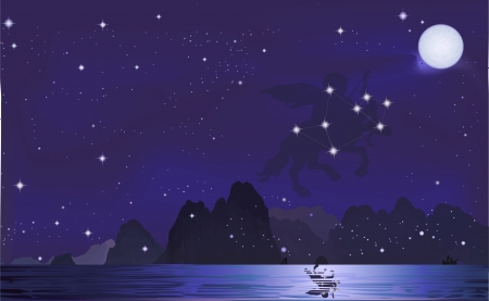 hale: Sagittarius with him stars  Illustration