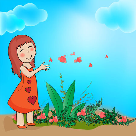 The pleasure of the girl being close to nature  Illustration