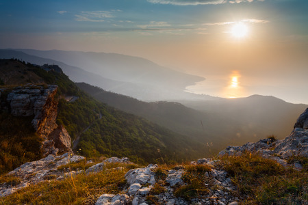 Majestic sunset in the mountains landscape, morning photo
