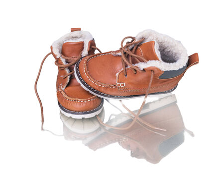 kids leather shoes on white background, boot photo