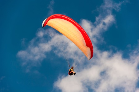 The hang gliding in the sky, air