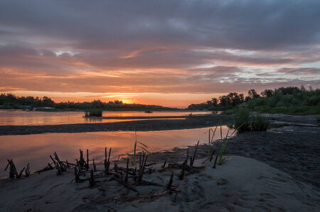 landscape sunset on the river, nature, spring photo