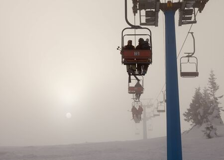 ski lift: Ski lift, travel, foggy mountains, tourism  winter