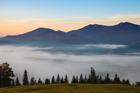fog and cloud mountain valley landscape, Ukraine photo