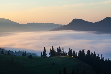 fog and cloud mountain valley landscape, Ukraine photo