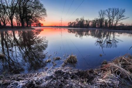Landscape with Power Line on sunset, sunrise