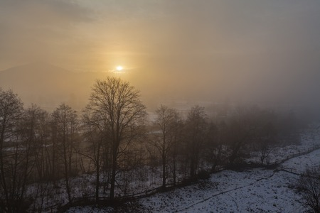 merced: Dramatic Winter Landscape. mountains. fog. the park