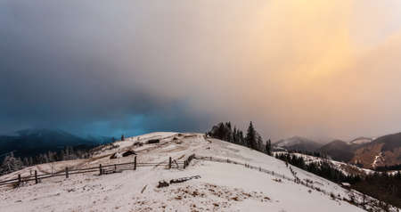 snow covered mountain: Winter snow covered mountain peaks in Europe.