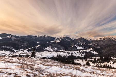 winter sunrise: Beautiful winter sunrise in the mountains. Ukraine