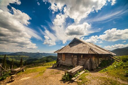 homestead: Old wooden traditional house in the mountains.