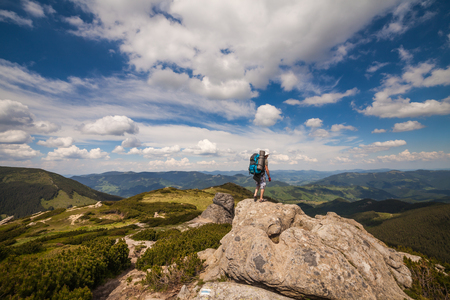 panoramatic: panorama view of the mountains and cliffs, Ukraine Stock Photo