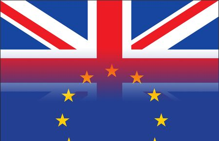international business agreement: Flags of the United Kingdom and the European Union.