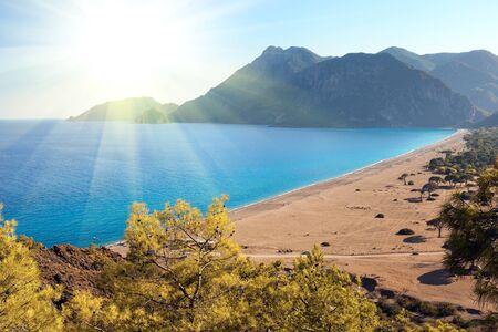 Beach at Mediterranean sea. Cirali Turkey 스톡 콘텐츠