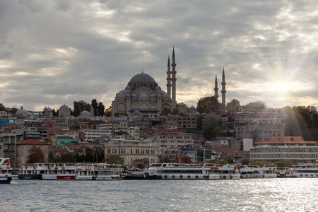 Istanbul, Turkey - October 21, 2016: The beautiful Suleymaniye mosque in Istanbul. Editorial