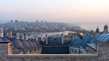 cupolas: The beautiful Suleymaniye mosque in Istanbul, Turkey.