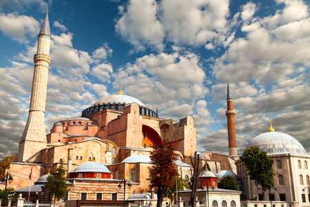 Hagia Sophia in Istanbul. The world famous monument of Byzantine architecture. View of the St. Sophia Cathedral at sunrise.