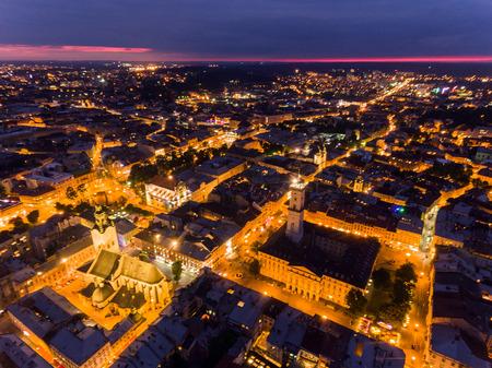 Night Old City Lviv, Ukraine Stock Photo