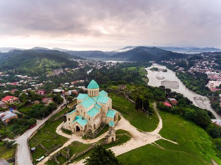 Aerial view of Bagrati Cathedral in Kutaisi center, Georgia