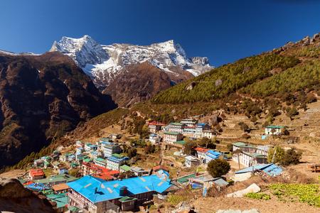 ナムチェ バザール、ヒマラヤ、ネパール 写真素材