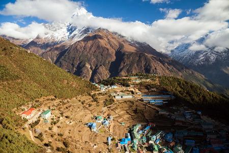 Namche Bazaar, Everest trek, Himalaya, Nepal. Stock Photo