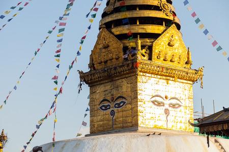 Swayambhunath Stupa - the holiest stupa of tibetan buddhism (vajrayana). Kathmandu, Nepal.