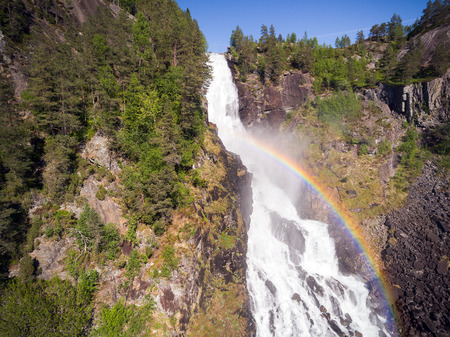 Photo of Latefossen - rapid waterfall in Norway. Aerial view, summer time.