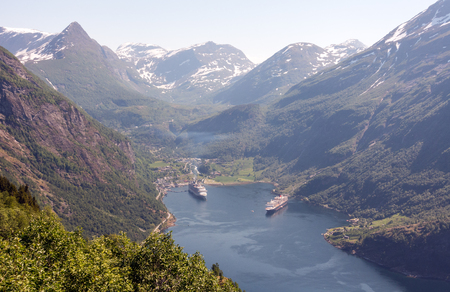 Photo of Geiranger fjord area, Norway. Aerial view at summer time.