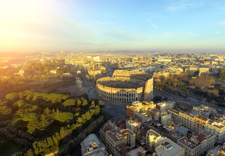Colosseum, Rome, Italy. Aerial view of the Roman Coliseum on sunrise