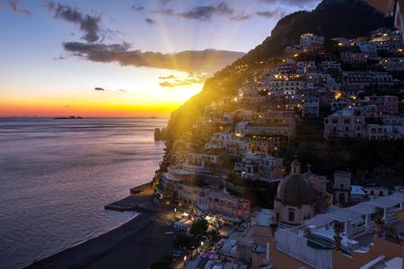 View of Positano village along Amalfi Coast in Italy Stok Fotoğraf