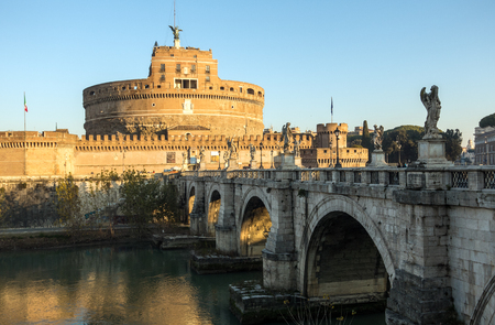 Saint Angel Castle Castel Sant Angelo and bridge Ponte Sant Angelo. Rome, Italy Stock fotó