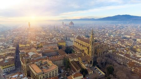 Panorama of the city of FLORENCE in Italy with the dome and Palazzo della Signoria and arno river