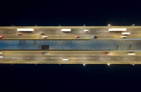 Rising drone shot reveals spectacular elevated highway, bridges, transportation Stockfoto