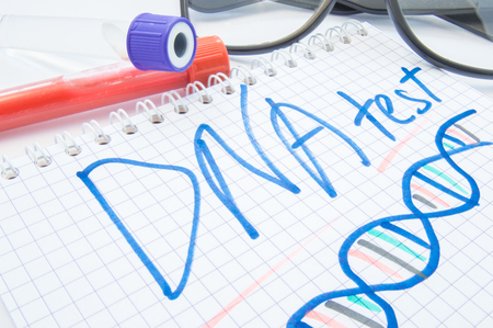 Note labeled DNA test and DNA formula lies next to test tubes with blood, biomaterial and glasses. DNA test or analysis procedure concept to determine ancestry, paternity, familytree, genetic diseases Stockfoto