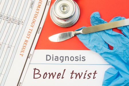 bowel disorder: Surgical diagnosis of Bowel twist. Surgical medical instrument scalpel, latex gloves, blood test analysis lie close beside text inscription diagnosis of Bowel twist. Concept for surgical diseases