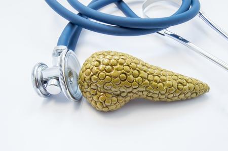 Anatomisch model van alvleesklier met stethoscoop, die het op witte achtergrond testen. Concept voor diagnose, behandeling, preventie en dieet bij pancreasaandoeningen zoals pancreatitis, diabetes, kanker Stockfoto