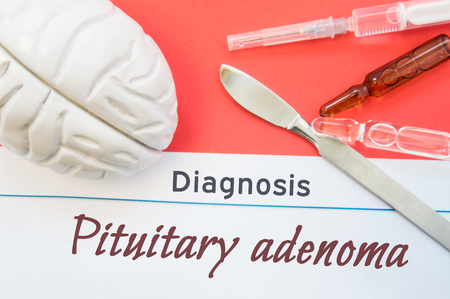Brain figure, surgical scalpel, syringe and vials lying around title Diagnosis Pituitary adenoma. Concept photo for diagnosis, surgical and medicinal treatment of brain diseases Pituitary adenoma