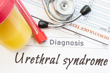 urethral: Urethral syndrome diagnosis. Laboratory container with urine sample, tube with blood, stethoscope and blood test results on white note inscribed with diagnosis of urologic disease Urethral syndrome