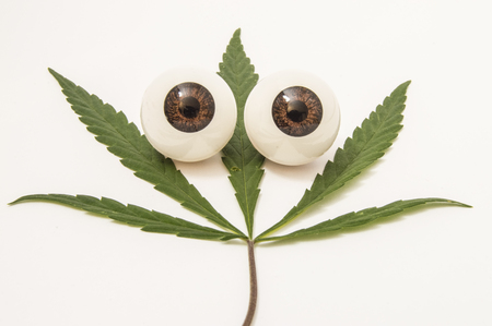 Green cannabis leaf with figures of the two eyes lies on a white medical table. The use of cannabis (Medical marijuana) in ophthalmology (for treatment of glaucoma and other diseases) Stock Photo