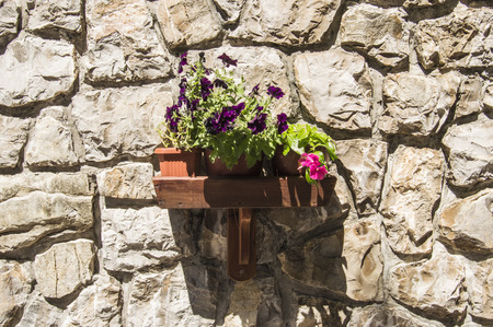 Wooden Wall shelf with vases of flowers, lighted up by the sun, hitched to the wall of the house, built of large stones