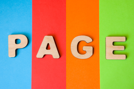 Web page word concept photo. Word page from 3D volume letters is in background of four colors - blue, red, orange and green.