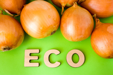 Onion Eco product or food. Onions bulb are on green background with text eco wooden letters. Example of sustainable environmentally orecological friendly product, Eco innovation or green marketing Stock Photo