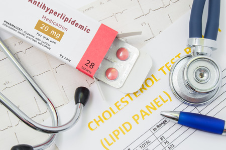 Antihyperlipidemic drug concept photo. Open packaging with drugs tablets, on which  written Antihyperlipidemic Medication, lies near stethoscope, result analysis on cholesterol (lipid panel) and ECG
