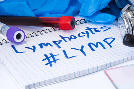Lymphocytes count procedure (#Lymp) white blood cell test. Laboratory test tubes with blood, stethoscope, smear or film and gloves are near note with text Lymphocytes (#Lymp) on table in doctor office Imagens
