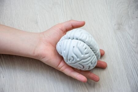 In palm of hand lying on wooden floor, is anatomical model of human brain. Concept photo depicting brain and nervous illness such as cancer as cause of death, organ donation after death of patient