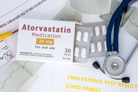 Atorvastatin active ingredient in drug as international nonproprietary name of active pharmaceutical substance concept photo. Packaging with label