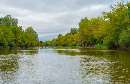 Panoramic view of Teteriv River, which floats on the territory of Ukraine. Photos from the boat on the middle of the river. Ahead visible obstacles as felled trees in the water