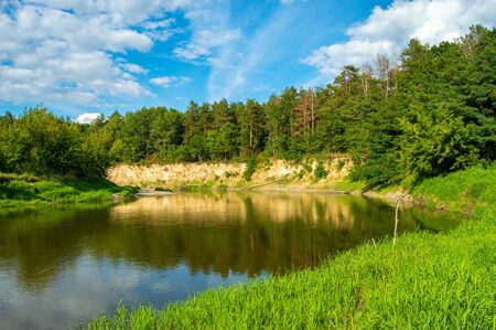 Bank of river - in foreground - bank, covered with juicy green grass, in background - precipice with forest that grows. Section of Western Bug River, which flows through Ukraine and Poland in Europe